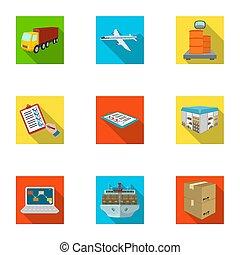 carretilla elevadora, avión de carga, bienes, documentos, y, otro, artículos, en, el, entrega, y, transportation., logística, y, entrega, conjunto, colección, iconos, en, plano, estilo, isométrico, bitmap, raster, símbolo, ilustración común, web.