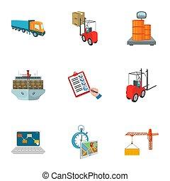 carretilla elevadora, avión de carga, bienes, documentos, y, otro, artículos, en, el, entrega, y, transportation., logística, y, entrega, conjunto, colección, iconos, en, caricatura, estilo, isométrico, bitmap, símbolo, ilustración común, web.