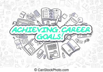 carrière affaires, concept., -, buts, accomplir