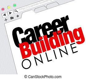 carrière, bâtiment, ligne, site web, travail chercher, classifié