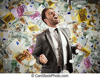 carrière, billets banque, pluvieux, concept, reussite