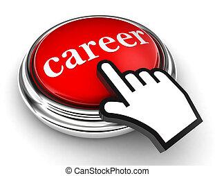 carrière, bouton, indicateur, rouges, main