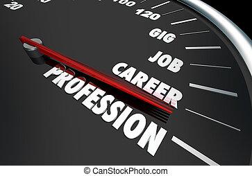 carrière, compteur vitesse, profession, illustration, gig, métier, emploi, 3d