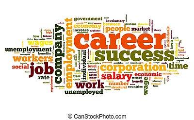 carrière, concept, woord, wolk, label