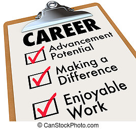 carrière, controlelijst, doelstellingen, werken, beroep, priorities, doelen