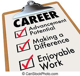 carrière, controlelijst, doelstellingen, werken, beroep, ...