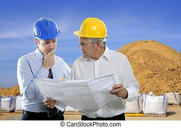 carrière, deux, projet architecte, équipe, compétence, ingénieur