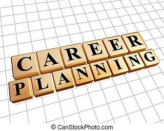 carrière, doré, planification, cubes
