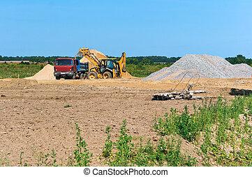 carrière, excavateur, exploitation minière, suivant, sable, camion, tas