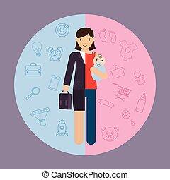carrière, femme affaires, divisé, mère, maternité