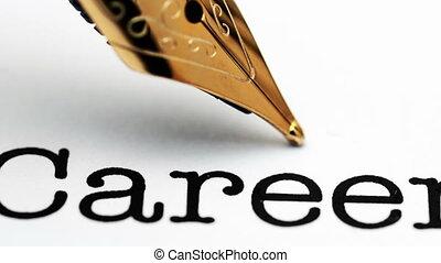 carrière, haut, stylo, fontaine, fin, texte