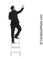 carrière, homme affaires, échelle, escalade