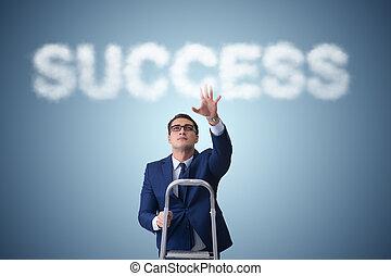 carrière, homme affaires, échelle, reussite, atteindre