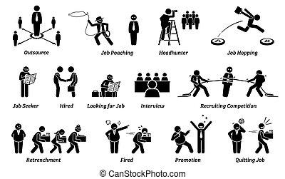 carrière, icônes, set., métier, emploi