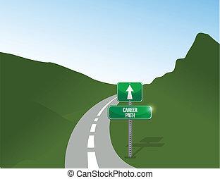 carrière, illustration, conception, paysage, sentier, route