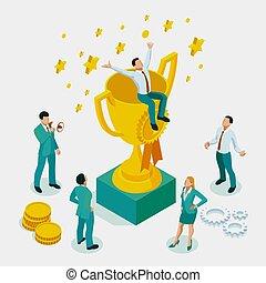 carrière, isométrique, concept, reussite, réussi, but, projets, direction, direction, équipe gagnant, direction, qualities, homme affaires, sentier, plan, créatif, récompenses