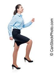 carrière, photo, échelle, isolé, femme affaires, conceptuel