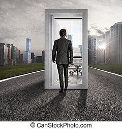 carrière, placement, avancement, success., professionnel, lieu travail, concept