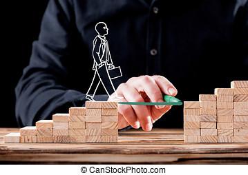 carrière, planification, concept., homme affaires, obtenir, aide, construisant ponts, à, success.