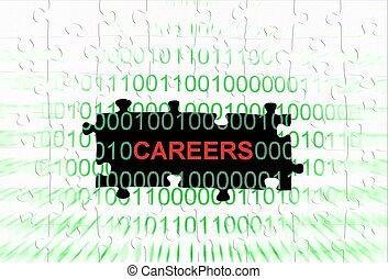 carrière, puzzle, concept