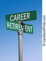 carrière, retraite, signe