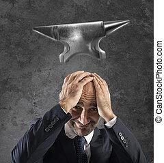 carrière, tomber, difficile, business, enclume