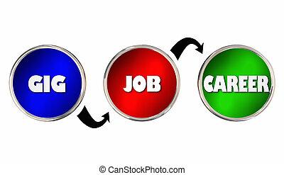 carrière, travail, illustration, gig, métier, niveaux, emploi, 3d