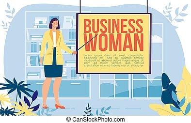 carrière, vecteur, concept, femme affaires, réussi