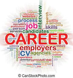 carrière, wordcloud, circulaire, mot, étiquettes