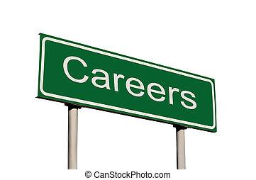 carrières, vert, isolé, panneaux signalisations