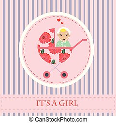 carriage., それ, 挨拶, 新生, girl., s, 赤ん坊, カード, baby.
