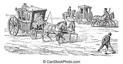 Carriage above a runner (eighteenth century), vintage...