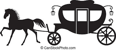 Carriage and horse - Silhouette image horse drawn carriage