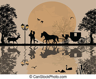 Carriage and lovers at night
