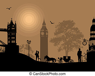 Carriage and lovers at night in London