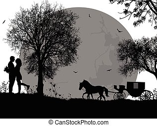Carriage and lovers on white
