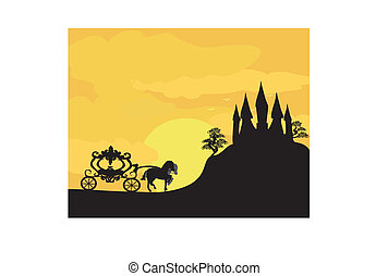 Carriage at sunset. Silhouette of a horse carriage