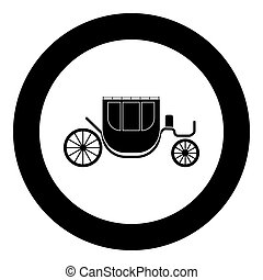Carriage black icon in circle vector illustration