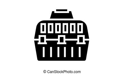 carriage cage animated glyph icon. carriage cage sign. isolated on white background