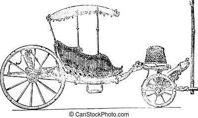 Carriage eighteenth century, vintage engraving. - Carriage...