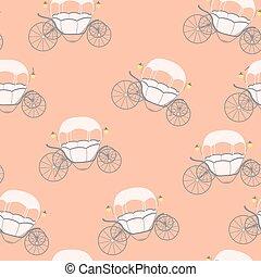 carriage., fairytale, cinderela, pattern., seamless, ilustração, vetorial, princesa
