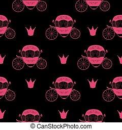 carriage., fairytale, cinderela, seamless, ilustração, experiência., vetorial, padrão, princesa