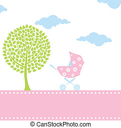 Carriage for children with the kid inside. A vector illustration