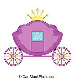 Carriage icon, cartoon style