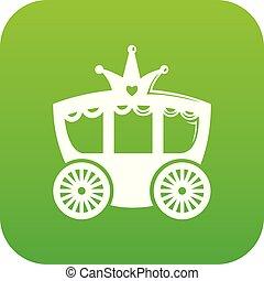Carriage icon green vector