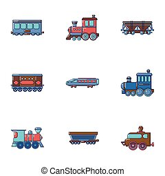 Carriage icons set, cartoon style