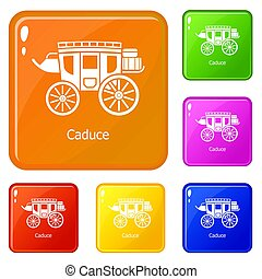 Carriage icons set color