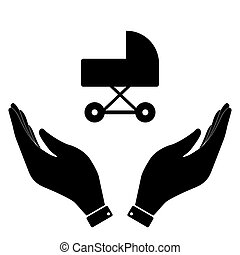 Carriage in hand icon