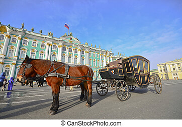 Carriage near the Hermitage in St. Petersburg