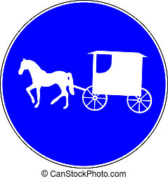 Carriage blue road sign